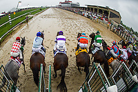 BALTIMORE, MD - MAY 21: The field breaks from the gate during the 141st running of the Preakness Stakes at Pimlico Race Course on May 21, 2016 in Baltimore, Maryland. (Photo by Douglas DeFelice/Eclipse Sportswire/Getty Images)