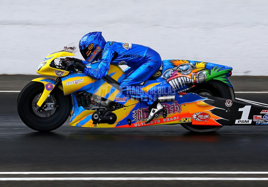 May 31, 2014; Englishtown, NJ, USA; NHRA pro stock motorcycle rider Matt Smith during qualifying for the Summernationals at Raceway Park. Mandatory Credit: Mark J. Rebilas-
