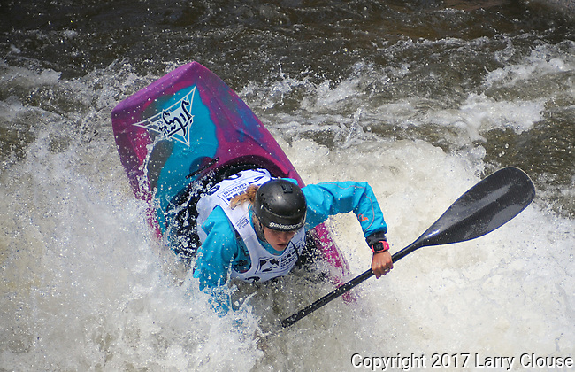 June 9, 2017 - Vail, Colorado, U.S. - New Zealand's, Martina Wegman, in the Freestyle Kayak competition during the GoPro Mountain Games, Vail, Colorado.  Adventure athletes from around the world meet in Vail, Colorado, June 8-11, for America's largest celebration of mountain sports, music, and lifestyle.