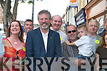 Gerry Adams with Sinn Fein supporters during his walkabout in Castleisland on Friday..