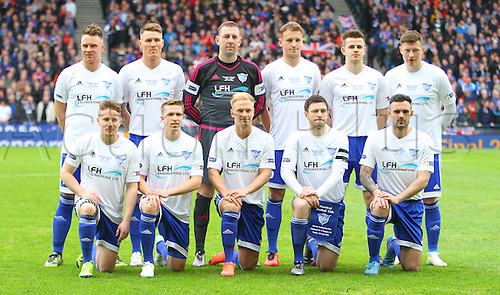 10.04.2016. Hampden Park, Glasgow, Scotland. Petrofac Training Cup Final. Rangers versus Peterhead. Peterhead team lineup