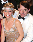 Kelli O'Hara and Matthew Broderick backstage celebrating the 200th Performance of 'Nice Work if You Can Get It' on Broadway at the Imperial Theatre on October 17, 2012 in New York City.