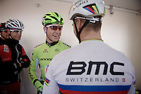 53rd Brabantse Pijl 2013..backstage fun between the favorites Peter Sagan (SVK)& Philippe Gilbert (BEL) for the upcoming Arrdenne Classics