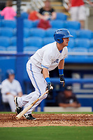 Dunedin Blue Jays designated hitter David Jacob (14) follows through on a swing during a game against the Lakeland Flying Tigers on July 31, 2018 at Dunedin Stadium in Dunedin, Florida.  Dunedin defeated Lakeland 8-0.  (Mike Janes/Four Seam Images)