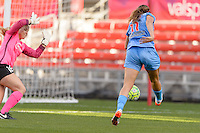 Bridgeview, IL, USA - Sunday, May 29, 2016: Chicago Red Stars forward Sofia Huerta (11) beats Sky Blue FC goalkeeper Caroline Stanley (18) to score during a regular season National Women's Soccer League match between the Chicago Red Stars and Sky Blue FC at Toyota Park. The game ended in a 1-1 tie.