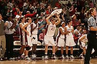 23 February 2006: Krista Rappahahn, Brooke Smith, Candice Wiggins, Kristen Newlin, Rosalyn Gold-Onwude and Jillian Harmon during Stanford's 100-69 win over the Washington Huskies at Maples Pavilion in Stanford, CA.