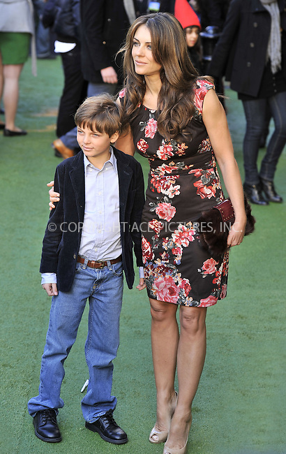 """WWW.ACEPIXS.COM . . . . .  ..... . . . . US SALES ONLY . . . . .....January 30 2011, London....Elizabeth Hurley and her son Damian at the UK film premiere of """"Gnomeo & Juliet"""" at the Odeon Leicester Square on January 30 2011 in London....Please byline: FAMOUS-ACE PICTURES... . . . .  ....Ace Pictures, Inc:  ..Tel: (212) 243-8787..e-mail: info@acepixs.com..web: http://www.acepixs.com"""