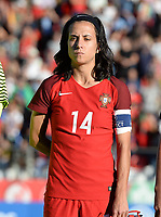 20171024 - PENAFIEL , PORTUGAL :  Portugese Dolores Silva pictured during a women's soccer game between Portugal and the Belgian Red Flames , on tuesday 24 October 2017 at Estádio Municipal 25 de Abril in Penafiel. This is the third game for the  Red Flames during the Worldcup 2019 France qualification in group 6. PHOTO SPORTPIX.BE | DAVID CATRY