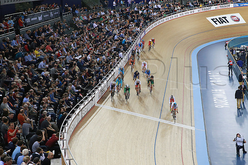02.032016. Lee Valley Velo Centre, London England. UCI Track Cycling World Championships Men's scratch race Final.  Riders jockey for position