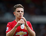 Josh Harrop of Manchester United has the confidence to give a cheeky wink as he takes a drink during the English Premier League match at the Old Trafford Stadium, Manchester. Picture date: May 21st 2017. Pic credit should read: Simon Bellis/Sportimage