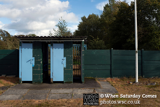 Nelson 3 Daisy Hill 6, 12/10/2019. Victoria Park, North West Counties League, First Division North. The turnstiles, pictured before Nelson hosted Daisy Hill at Victoria Park. Founded in 1881, the home club were members of the Football League from 1921-31 and has played at their current ground, known as Little Wembley, since 1971. The visitors won this fixture 6-3, watched by an attendance of 78. Photo by Colin McPherson.