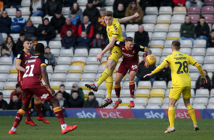 Fleetwood Town's Harry Souttar heads away from Bradford City's David Ball<br /> <br /> Photographer David Shipman/CameraSport<br /> <br /> The EFL Sky Bet League One - Bradford City v Fleetwood Town - Saturday 9th February 2019 - Valley Parade - Bradford<br /> <br /> World Copyright &copy; 2019 CameraSport. All rights reserved. 43 Linden Ave. Countesthorpe. Leicester. England. LE8 5PG - Tel: +44 (0) 116 277 4147 - admin@camerasport.com - www.camerasport.com