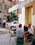 Friends at a cafe in Ostuni, Puglia, Italy