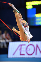 September 11, 2009; Mie, Japan;  Anna Bessonova of Ukraine split leaps with rope to win bronze in the All Around final on this day at 2009 World Championships Mie. Anna was the 2007 AA world champion at Patras, Greece in the individual All Around. (Photo note: Image #3 from this series of split leaps) Photo by Tom Theobald. .