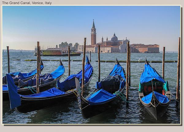 A vaporetta and gondolas on Grand Canal, Venice, Italy.