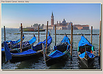 A vaporetta and gondolas on Grand Canal, Venice, Italy.