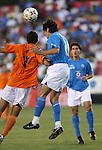 Cruz Azul's Denis Caniza (PAR) (21) heads the ball over Carolina's Marcio Leite (7). The United Soccer League Division 1 Carolina Railhawks played Club Deportivo Cruz Azul of La Primera Division del Futbol Mexicano on Wednesday, July 25, 2007 in an international club friendly game at SAS Stadium in Cary, North Carolina/