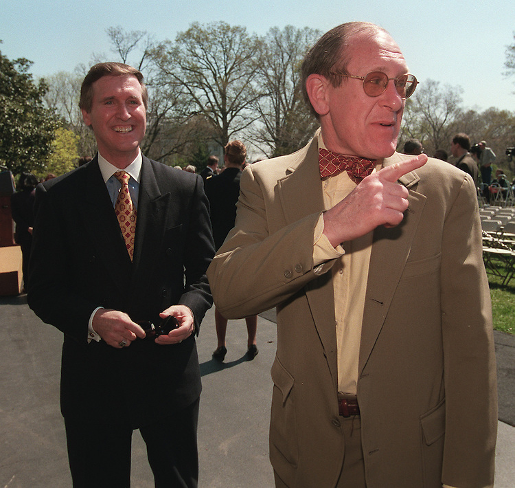 4/4/97.Secretary of Defense William Cohen and Assistant SEcretary of Defense for Public Affairs Kenneth Bacon joke with reporters after White House event on importance of ratifying the chemical weapons convention treaty..PHOTO BY SCOTT J. FERRELL