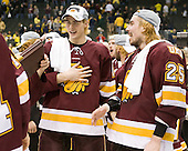 Joe Basaraba (Duluth - 18), Justin Faulk (Duluth - 25) - The University of Minnesota-Duluth Bulldogs celebrated their 2011 D1 National Championship win on Saturday, April 9, 2011, at the Xcel Energy Center in St. Paul, Minnesota.