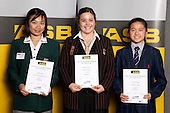 Badminton Girls finalists Amona Pak, Mary O'Connor and Victoria Cheng.  ASB College Sport Young Sportsperson of the Year Awards held at Eden Park, Auckland, on November 11th 2010.