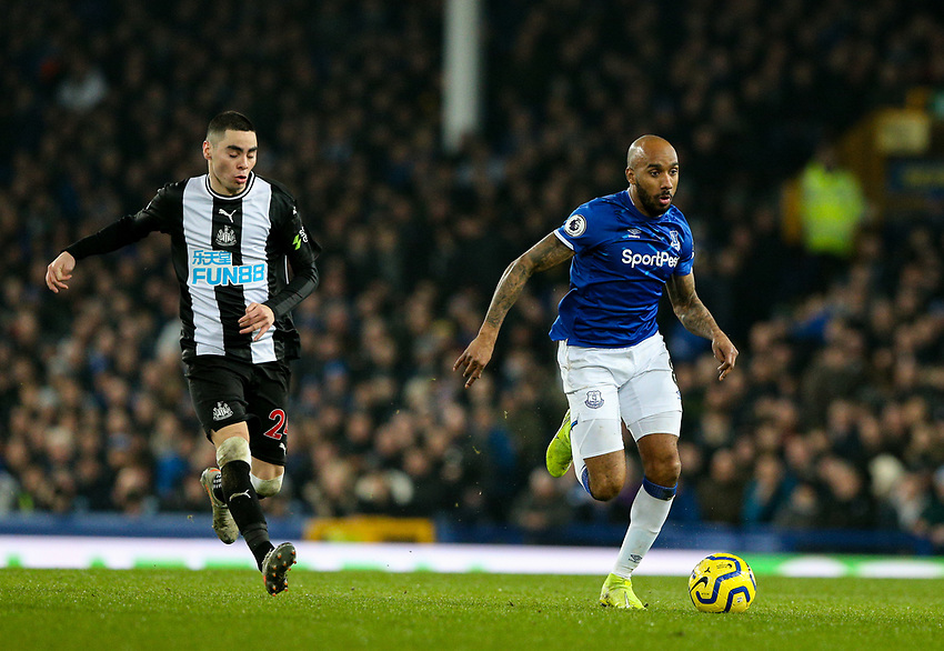 Everton's Fabian Delph gets away from Newcastle United's Miguel Almiron<br /> <br /> Photographer Alex Dodd/CameraSport<br /> <br /> The Premier League - Everton v Newcastle United  - Tuesday 21st January 2020 - Goodison Park - Liverpool<br /> <br /> World Copyright © 2020 CameraSport. All rights reserved. 43 Linden Ave. Countesthorpe. Leicester. England. LE8 5PG - Tel: +44 (0) 116 277 4147 - admin@camerasport.com - www.camerasport.com