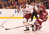 Miles Wood (BC - 28), Clay Anderson (Harvard - 5) - The Boston College Eagles defeated the Harvard University Crimson 3-2 in the opening round of the Beanpot on Monday, February 1, 2016, at TD Garden in Boston, Massachusetts.