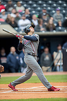 Lehigh Valley IronPigs outfielder Dylan Cozens (21) follows through on his swing against the Toledo Mud Hens during the International League baseball game on April 30, 2017 at Fifth Third Field in Toledo, Ohio. Toledo defeated Lehigh Valley 6-4. (Andrew Woolley/Four Seam Images)