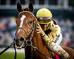 LOUISVILLE, KENTUCKY - MAY 04:  Country House gets a hug from Jockey Flavien Prat after he wins the Kentucky Derby at Churchill Downs in Louisville, Kentucky on May 04, 2019. Evers/Eclipse Sportswire/CSM