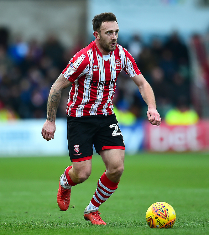 Lincoln City's Neal Eardley<br /> <br /> Photographer Andrew Vaughan/CameraSport<br /> <br /> The EFL Sky Bet League Two - Lincoln City v Grimsby Town - Saturday 19 January 2019 - Sincil Bank - Lincoln<br /> <br /> World Copyright &copy; 2019 CameraSport. All rights reserved. 43 Linden Ave. Countesthorpe. Leicester. England. LE8 5PG - Tel: +44 (0) 116 277 4147 - admin@camerasport.com - www.camerasport.com