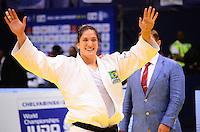 RIO DE JANEIRO, RJ,30 DE AGOSTO DE 2013 -CAMPEONATO MUNDIAL DE JUDÔ RIO 2013- A brasileira Mayra Aguiar (de branco) derrotou a canadense catherine Roberge e ganhou o bronze na categoria -78kg no Mundial de Judô Rio 2013, no Maracanazinho de 26 de agosto a 01 de setembro, zona norte do Rio de Janeiro.FOTO:MARCELO FONSECA/BRAZIL PHOTO PRESS