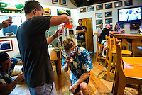 Namotu Island, Fiji (Sunday, June 2, 2013) - Glen Hall (IRE) pours a birthday drink into the 'Skull Drag' apparatus for Taj Burrow (AUS).  Onshore winds and small surf on offer this morning prompted Volcom Fiji Pro event organizers to call a lay day for competition as the remainder of the window is projecting increased surf and improved conditions.<br /> Event No. 4 of 10 on the 2013 ASP World Championship Tour, the Volcom Fiji Pro has brought the world's best surfers to one of the world's most idyllic surfing destinations in the South Pacific. Over the course of the 13-day window, the ASP Top 34 will do battle at the primary venue of Cloudbreak and potentially the secondary venue of Restaurants as this season's hunt for the world surfing crown continues.<br /> ?Only small surf on offer this morning with poor wind conditions,? Rich Porta, ASP International Head Judge, said. ?We've called a lay day for competition and expect improved conditions throughout the remainder of the event window. We'll be back tomorrow morning to make another assessment.?<br />  Photo: joliphotos.com