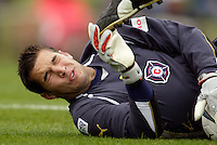 The Fire's goalkeeper D.J. Countess almost eats shoe after making a save. The MetroStars defeated the Chicago Fire 2-0 during an exhibition game on Monday October 11, 2004 at At-A-Glance Field at the National Soccer Hall of Fame and Museum, Oneonta, NY..