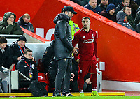 Liverpool manager Jürgen Klopp prepares to bring Xherdan Shaqiri on<br /> <br /> Photographer AlexDodd/CameraSport<br /> <br /> The Premier League - Liverpool v Manchester United - Sunday 16th December 2018 - Anfield - Liverpool<br /> <br /> World Copyright © 2018 CameraSport. All rights reserved. 43 Linden Ave. Countesthorpe. Leicester. England. LE8 5PG - Tel: +44 (0) 116 277 4147 - admin@camerasport.com - www.camerasport.com