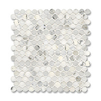 2 cm Pennyrounds shown in Calacatta Radiance (available in polished or honed finish) is part of New Ravenna's Studio Line of ready to ship mosaics.