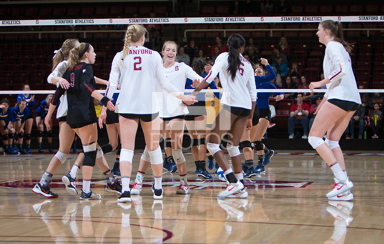 STANFORD, CA - December 1, 2017: Meghan McClure, Morgan Hentz, Kathryn Plummer, Jenna Gray, Tami Alade, Merete Lutz at Maples Pavilion. The Stanford Cardinal defeated the CSU Bakersfield Roadrunners 3-0 in the first round of the NCAA tournament.