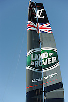 Land Rover BAR, JULY 23, 2016 - Sailing: Close up of the Land Rover BAR wing during day one of the Louis Vuitton America's Cup World Series racing, Portsmouth, United Kingdom. (Photo by Rob Munro/AFLO)