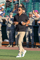 MLB Hall of Famer Roberto Alomar jogs out to the mound to throw the ceremonial first pitch prior to the 2018 California League All-Star Game at The Hangar on June 19, 2018 in Lancaster, California. The North All-Stars defeated the South All-Stars 8-1.  (Donn Parris/Four Seam Images)