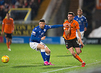 16th November 2019; Tannadice Park, Dundee, Scotland; Scottish Championship Football, Dundee United versus Queen of the South; Sam Stanton of Dundee United goes past Darren Lyon of Queen of the South  - Editorial Use