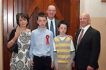 Niall Brodigan with his family and his sponsor, Eamonn Sweeney at the Confirmation in Termonfeckin Church...Photo NEWSFILE/Jenny Matthews.(Photo credit should read Jenny Matthews/NEWSFILE)....This Picture has been sent you under the condtions enclosed by:.Newsfile Ltd..The Studio,.Millmount Abbey,.Drogheda,.Co Meath..Ireland..Tel: +353(0)41-9871240.Fax: +353(0)41-9871260.GSM: +353(0)86-2500958.email: pictures@newsfile.ie.www.newsfile.ie.FTP: 193.120.102.198.