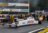 Oct 1, 2016; Mohnton, PA, USA; NHRA top fuel driver Richie Crampton during qualifying for the Dodge Nationals at Maple Grove Raceway. Mandatory Credit: Mark J. Rebilas-USA TODAY Sports