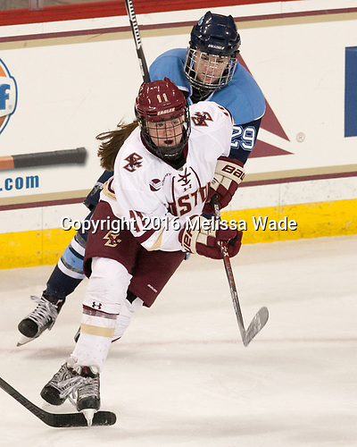 Caitrin Lonergan (BC - 11), Kristin Gilmour (Maine - 29) - The Boston College Eagles defeated the visiting University of Maine Black Bears 2-1 on Saturday, October 8, 2016, at Kelley Rink in Conte Forum in Chestnut Hill, Massachusetts.  The University of North Dakota Fighting Hawks celebrate their 2016 D1 national championship win on Saturday, April 9, 2016, at Amalie Arena in Tampa, Florida.