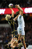 Richie Gray of Scotland and Geoff Parling of England contest the lineout during the RBS 6 Nations match between England and Scotland at Twickenham on Saturday 02 February 2013 (Photo by Rob Munro)