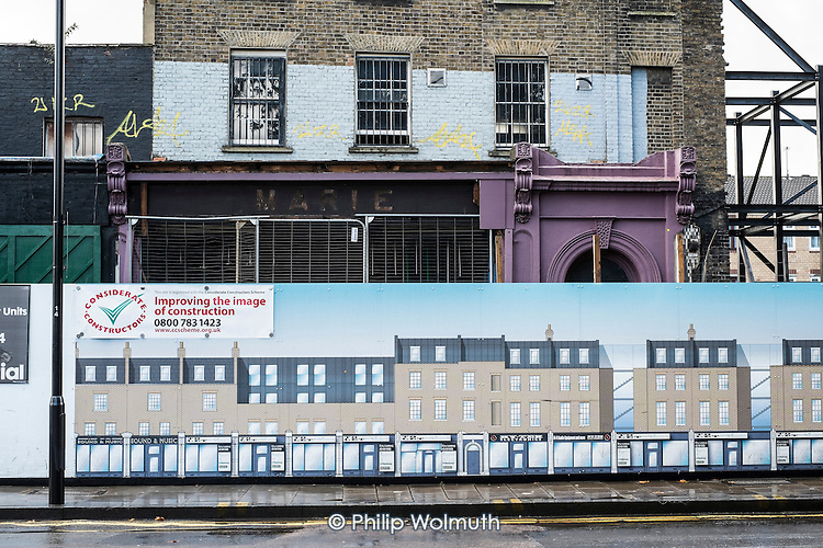 Victorian terrace of shops and flats awaiting demolition and reconstruction in Dalston, Hackney.