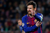 5th December 2017, Camp Nou, Barcelona, Spain; UEFA Champions League football, FC Barcelona versus Sporting Lisbon; Leo Messi of FC Barcelona grimaces as his shot is saved
