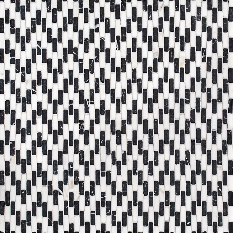 Ziggurat Petite, a tumbled mosaic, shown in Nero Marquina and Calacatta, is part of the Tissé® collection for New Ravenna.