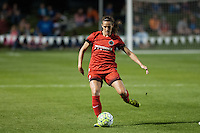 Kansas City, Mo. - Saturday April 23, 2016: Portland Thorns FC defender Katherine Reynolds (2) kicks the ball during a match against FC Kansas City at Swope Soccer Village. The match ended in a 1-1 draw.