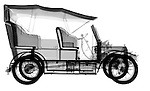 X-ray image of an antique car (black on white) by Jim Wehtje, specialist in x-ray art and design images.