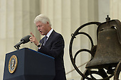 Former US President Bill Clinton delivers remarks during the 'Let Freedom Ring' commemoration event, at the Lincoln Memorial in Washington DC, USA, 28 August 2013. The event was held to commemorate the 50th anniversary of the 28 August 1963 March on Washington led by the late Dr. Martin Luther King Jr., where he famously gave his 'I Have a Dream' speech.<br /> Credit: Michael Reynolds / Pool via CNP