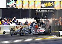 Feb 6, 2015; Pomona, CA, USA; NHRA top fuel driver Larry Dixon during qualifying for the Winternationals at Auto Club Raceway at Pomona. Mandatory Credit: Mark J. Rebilas-USA TODAY Sports