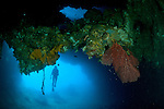 Diver exploring underwater cavern and caves at Goa Farondi, Southern Raja Ampat, West Papua, Indonesia